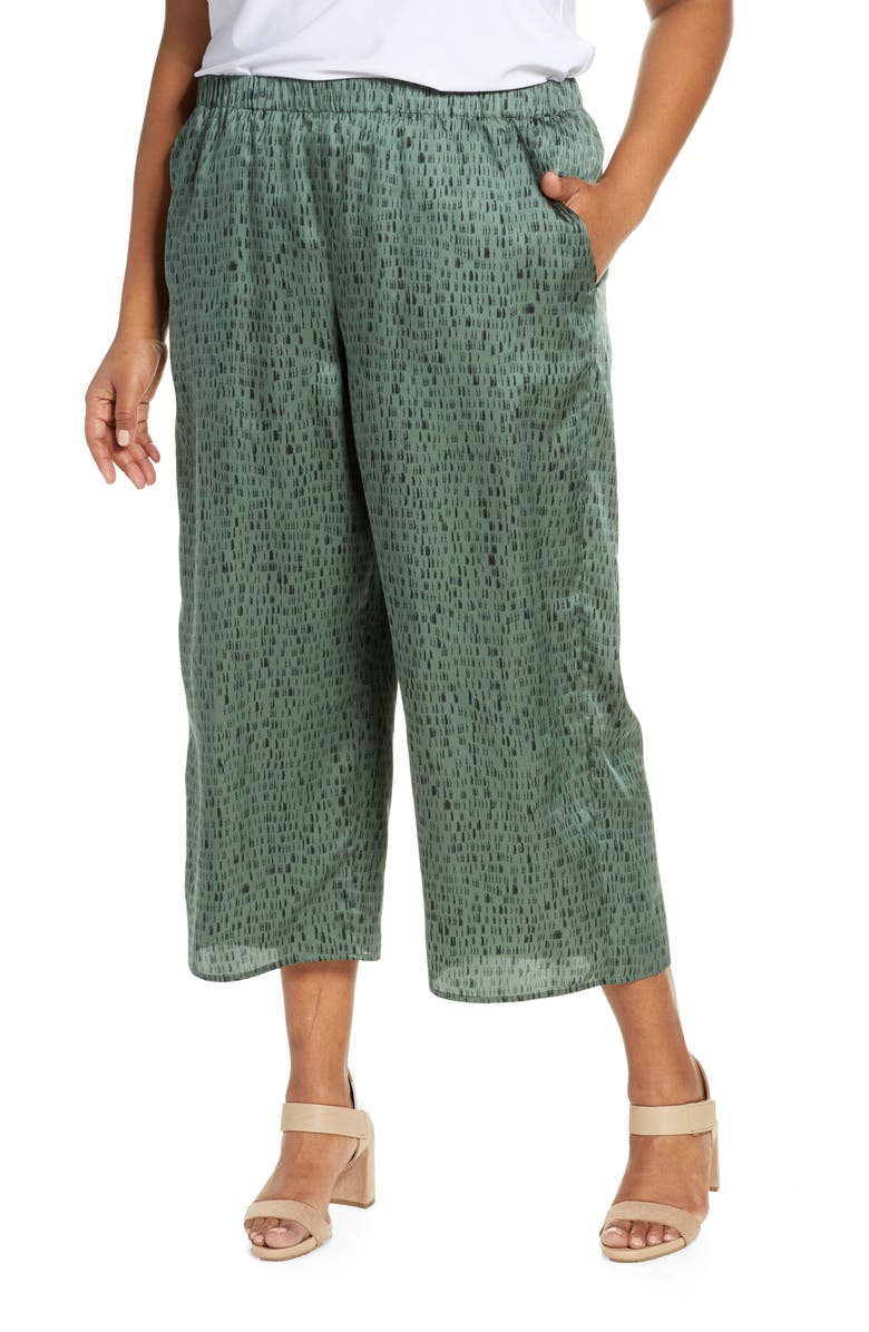 EILEEN FISHER Print Wide Leg Silk & Cotton Crop Pants, Main, color, NORI