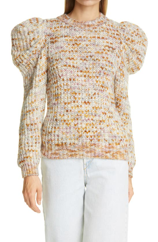 Ulla Johnson Rosina Heather Puff Sleeve Sweater In Fawn