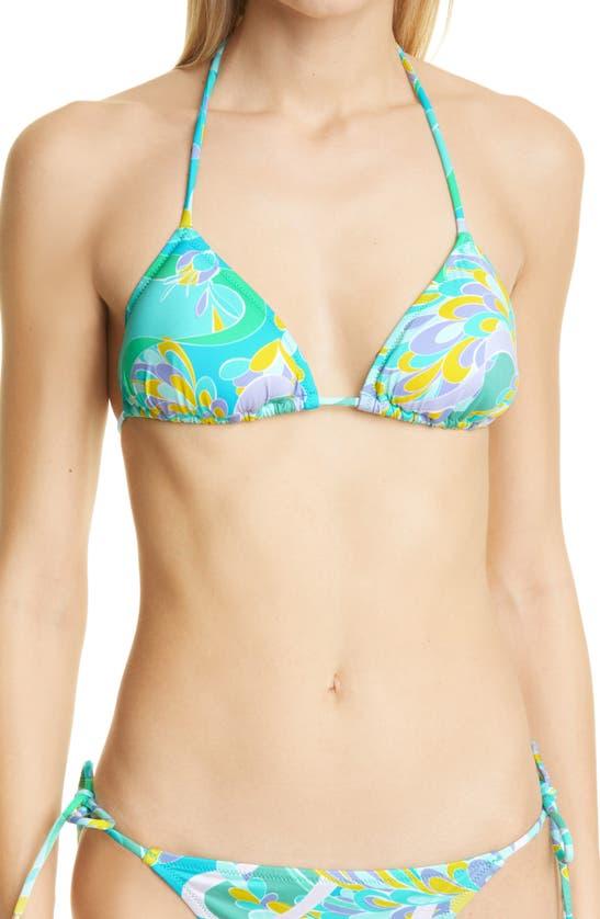 EMILIO PUCCI Bikinis LILY PRINT TRIANGLE BIKINI TOP