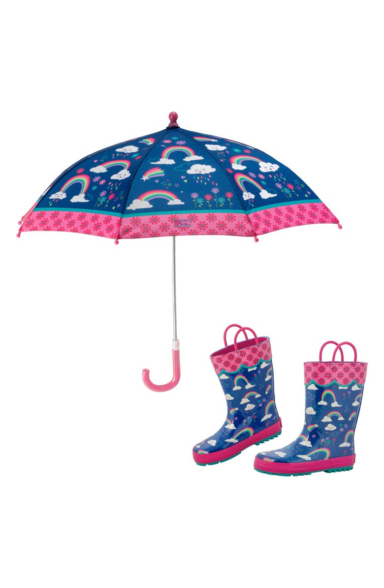 STEPHEN JOSEPH Print Rain Boots & Umbrella Set, Main, color, RAINBOW