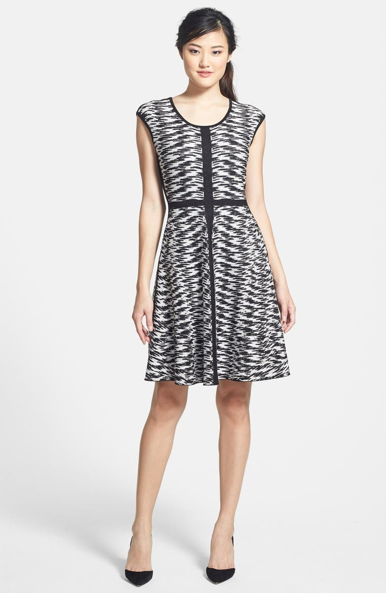 NIC+ZOE 'Pebble Pieced Twirl' Knit Twirl Dress, Main, color, 001