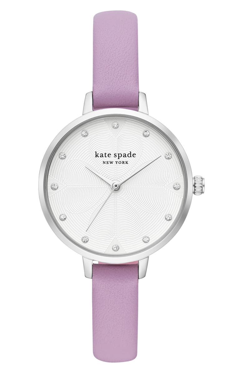 KATE SPADE NEW YORK metro leather strap watch, 34mm, Main, color, PURPLE/ WHITE/ SILVER