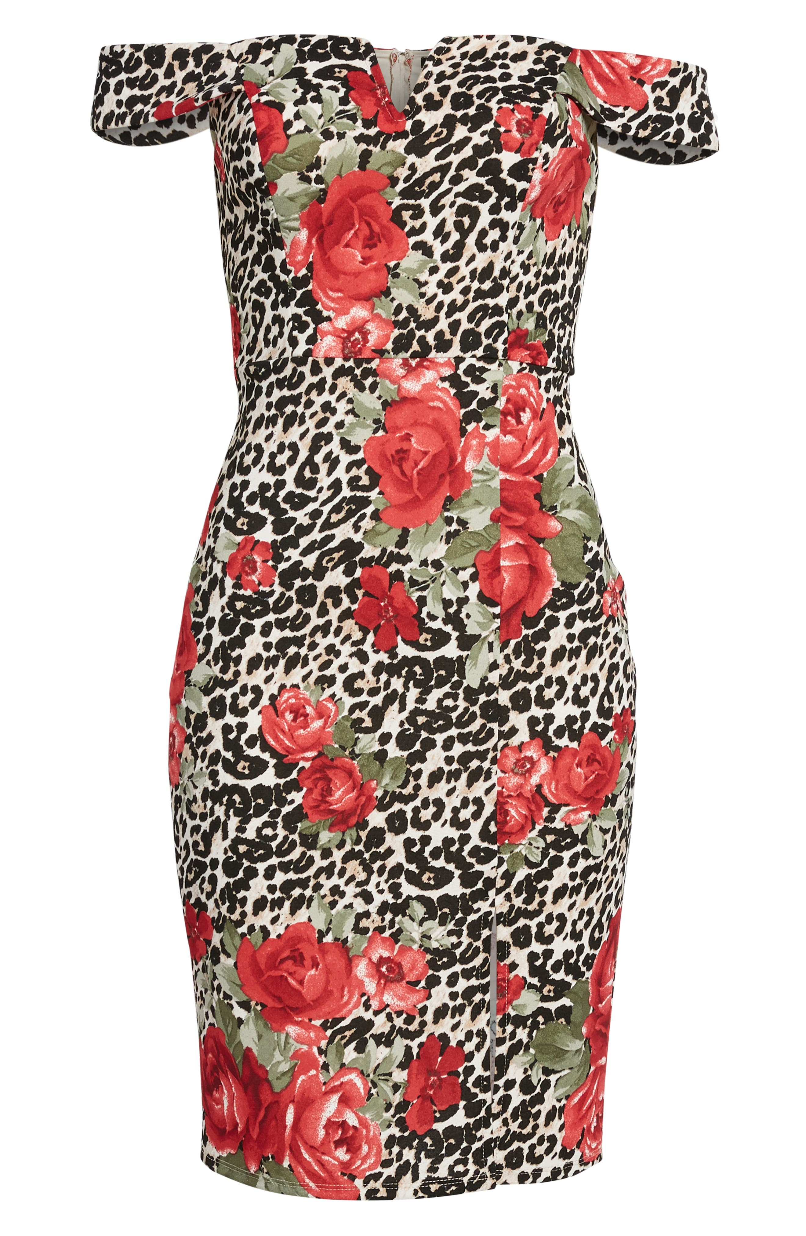 ,                             Mix Print Off the Shoulder Midi Dress,                             Alternate thumbnail 7, color,                             IVORY RED