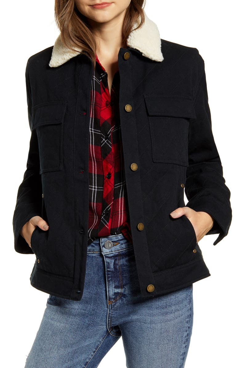 PENDLETON Sidney Barn Coat with Faux Shearling Collar, Main, color, BLACK