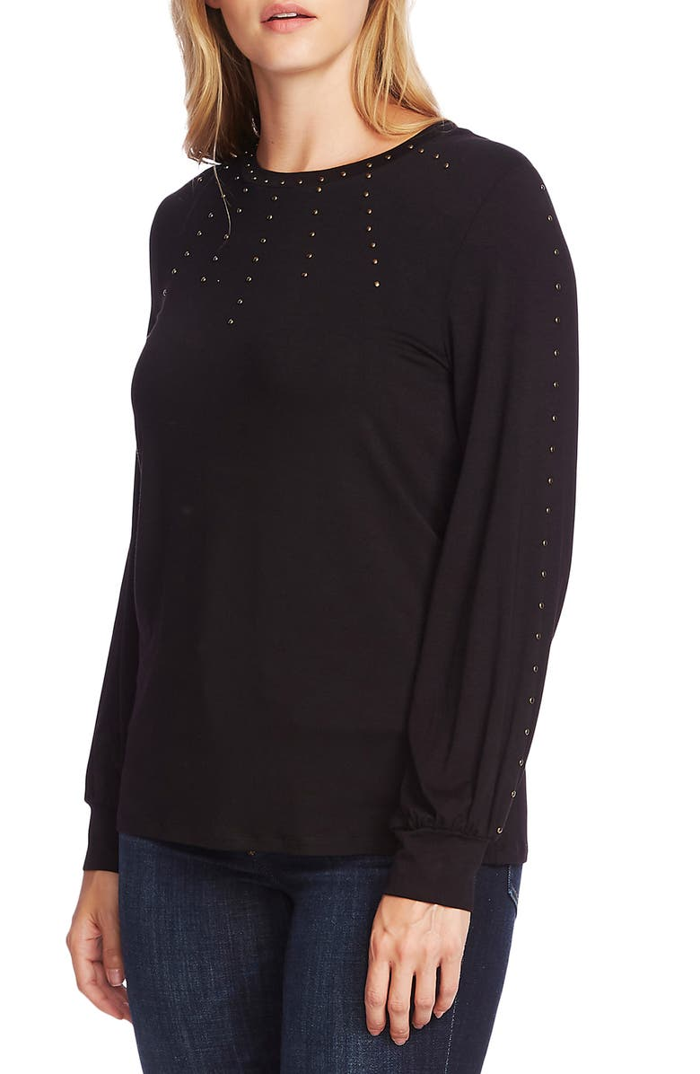 VINCE CAMUTO Stud Detail Long Sleeve Top, Main, color, 001