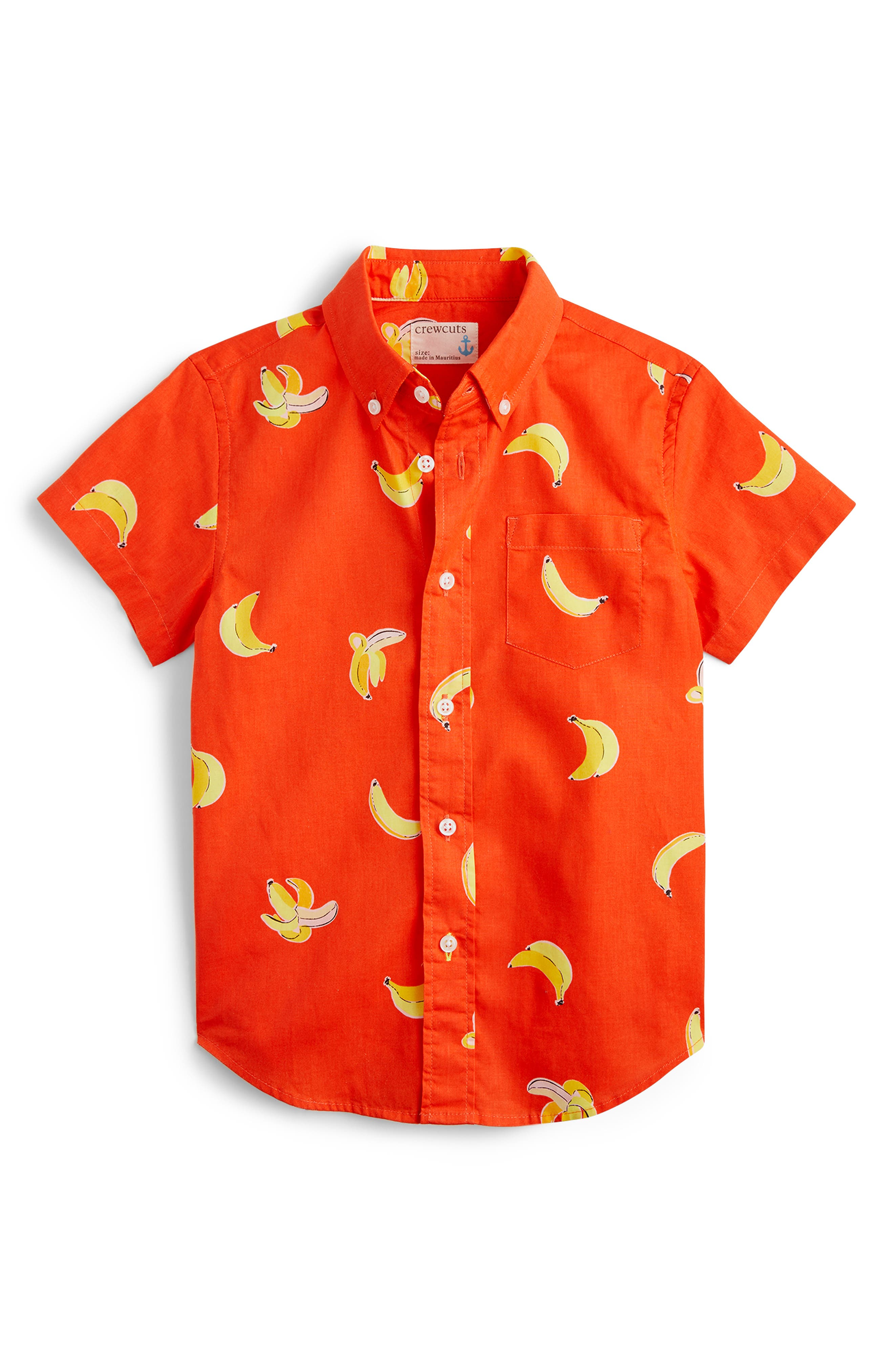 Boys Crewcuts By Jcrew Bananas Stretch Poplin ButtonDown Shirt Size 45  Red
