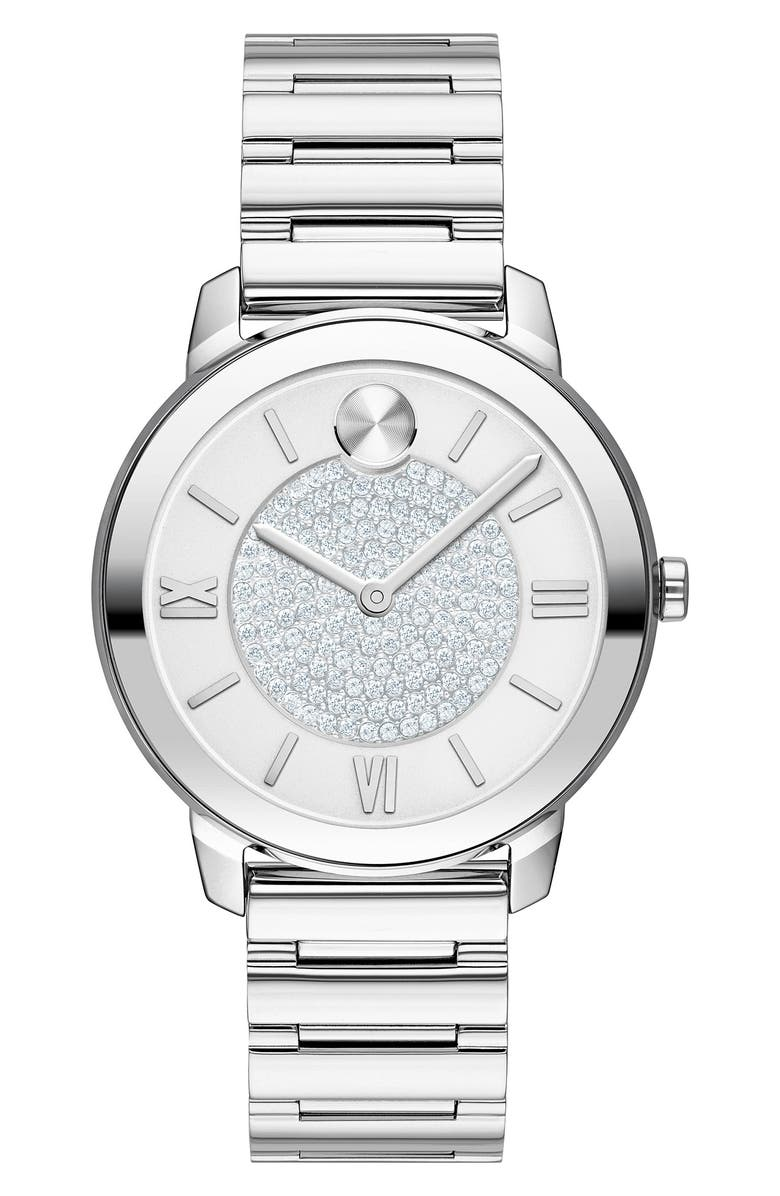 MOVADO Bold Pavé Bracelet Watch, 32mm, Main, color, SILVER