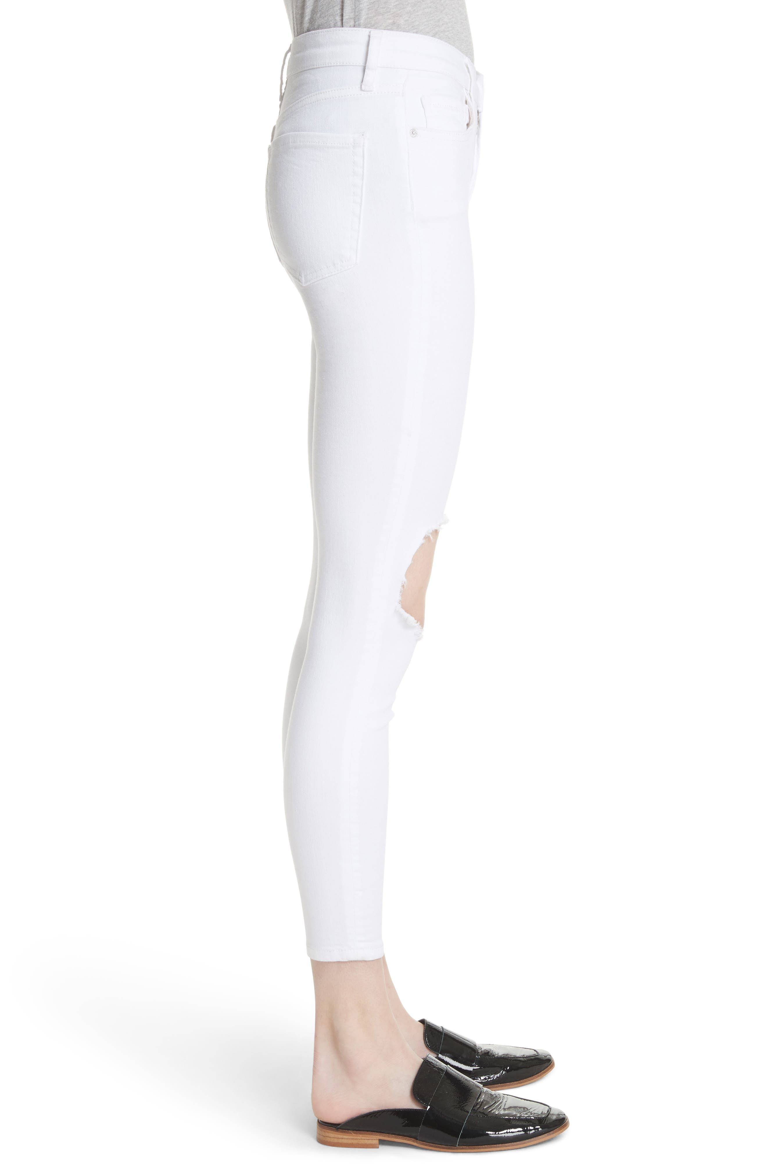 ,                             We the Free by Free People High Waist Busted Knee Skinny Jeans,                             Alternate thumbnail 4, color,                             WHITE
