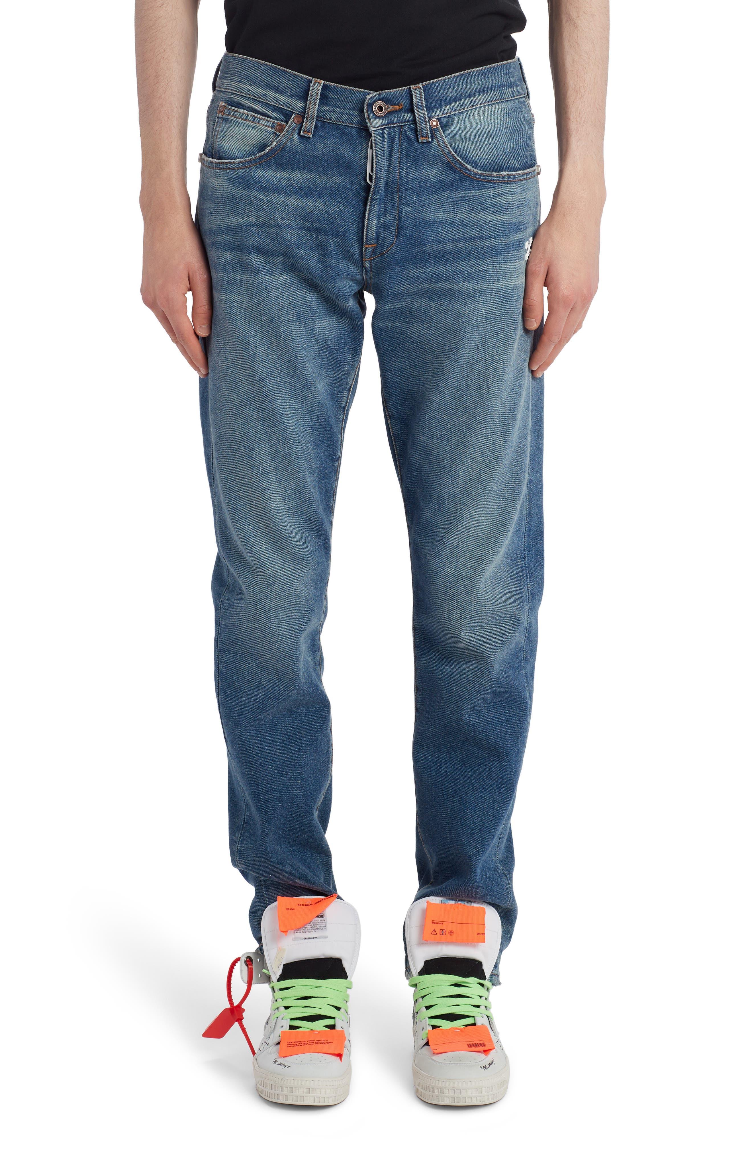 Men's Off-White Diag Slim Fit Jeans,  38 - Blue