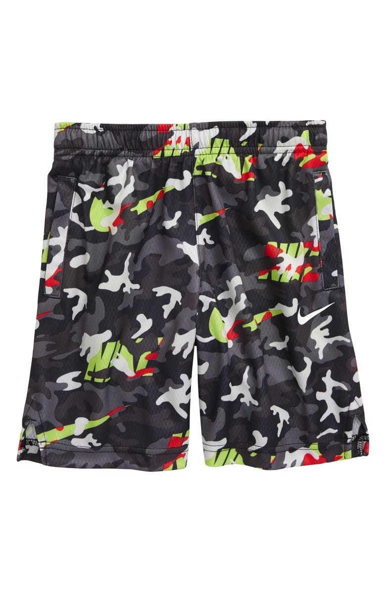 NIKE Camo Dri-FIT Athletic Shorts, Main, color, VOLT