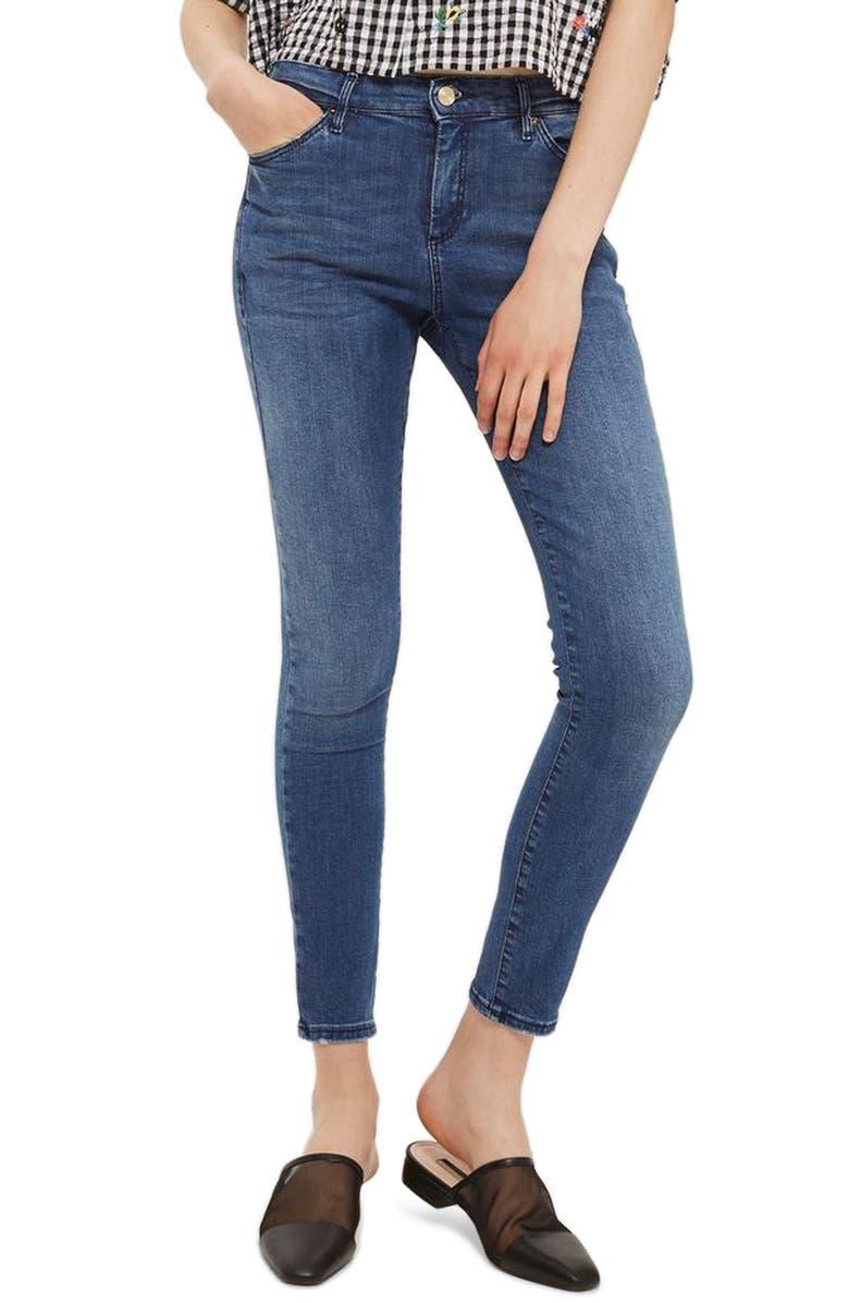 TOPSHOP Sidney Skinny Ankle Jeans, Main, color, 400