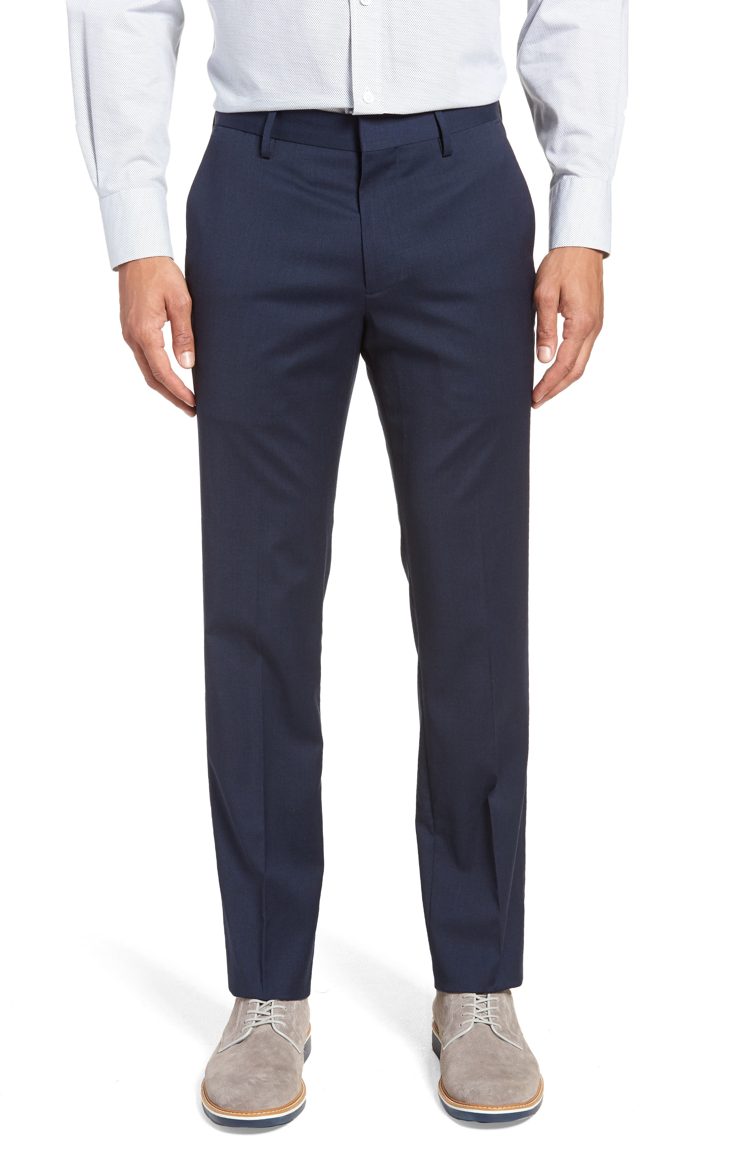 ,                             Jetsetter Slim Fit Flat Front Stretch Wool Trousers,                             Main thumbnail 35, color,                             401