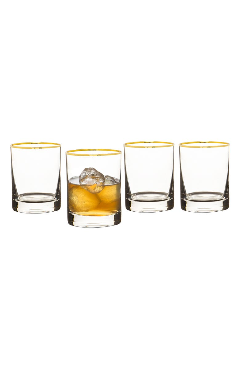CATHY'S CONCEPTS Monogram Set of 4 Double Old Fashioned Glasses, Main, color, 710