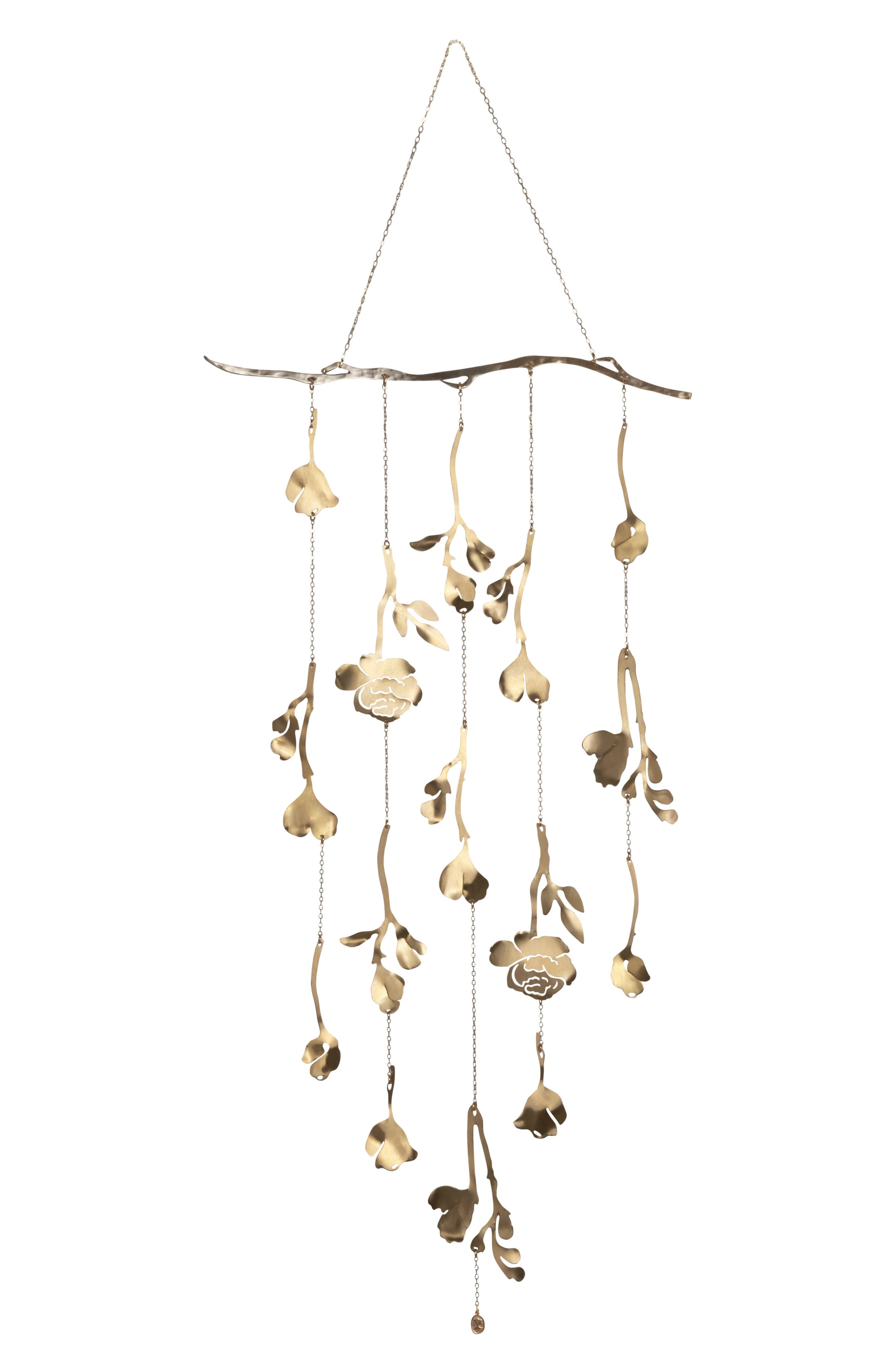 Add a dash of romance to your decor with this ethereal piece crafted with a cascade of chain twigs with delicate flowers and windswept leaves cast in brass. Style Name: Ariana Ost Floral Wall Hanging. Style Number: 5965852. Available in stores.