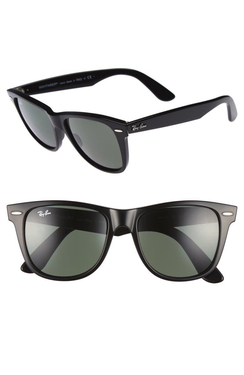 RAY-BAN Classic Wayfarer 54mm Sunglasses, Main, color, BLACK/ GREEN