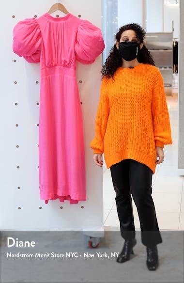 Dawn Puff Sleeve Open Back Jacquard Dress, sales video thumbnail