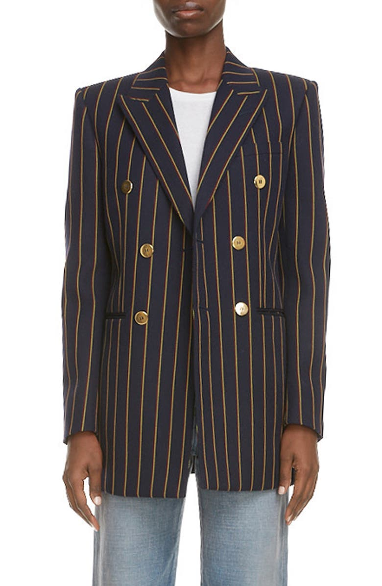 SAINT LAURENT Double Breasted Stripe Wool Blazer, Main, color, MARINE JAUNE ROUGE