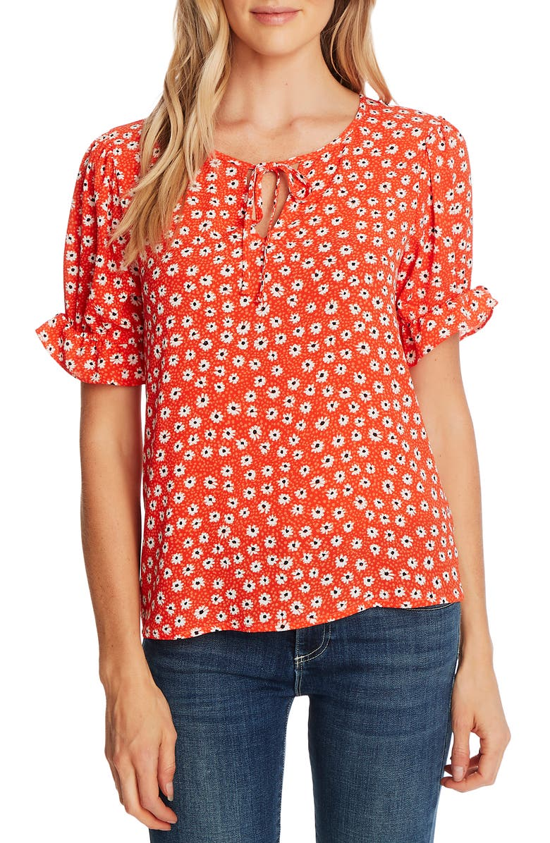 CECE Daisy Melody Puff Sleeve Blouse, Main, color, CANDY APPLE
