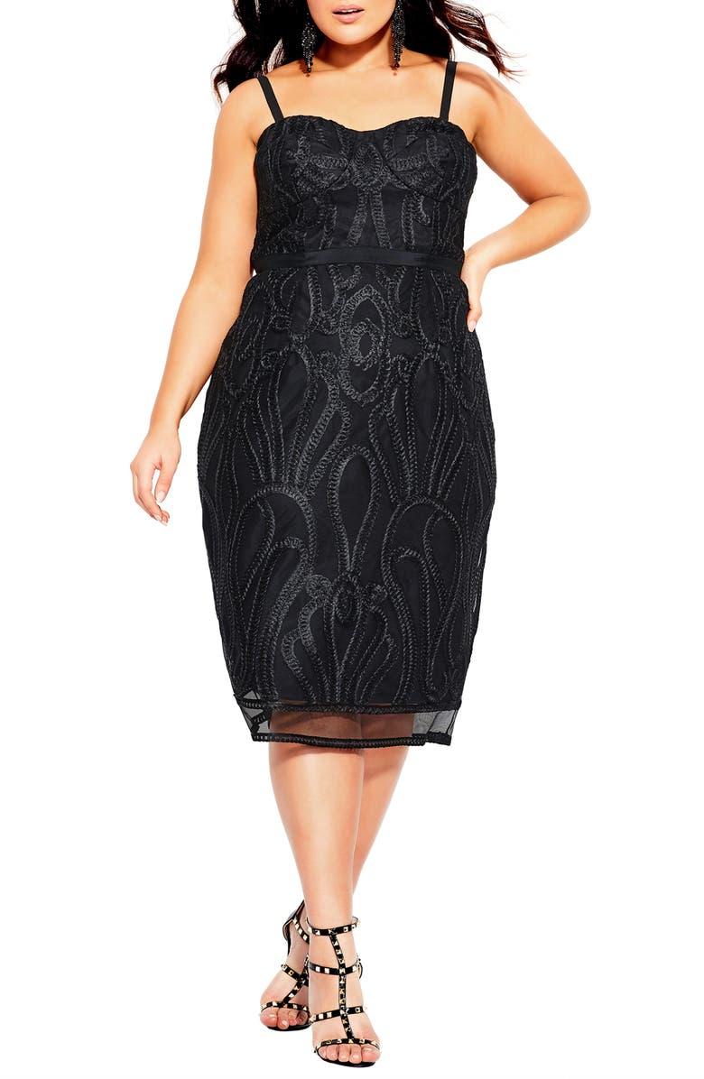 CITY CHIC Antonia Strapless Sheath Dress, Main, color, BLACK