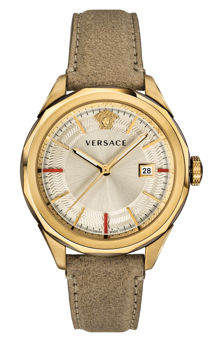 VERSACE Glaze Leather Strap Watch, 43mm, Main, color, BROWN/ GOLD