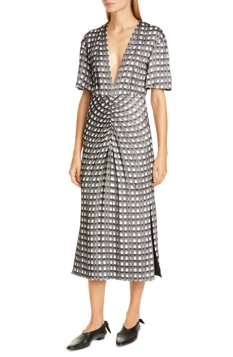PROENZA SCHOULER Check Jacquard Midi Dress, Main, color, BLACK/ ECRU