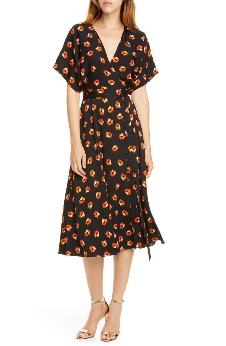 DVF Kelsey Floral Stretch Silk Wrap Dress, Main, color, 001