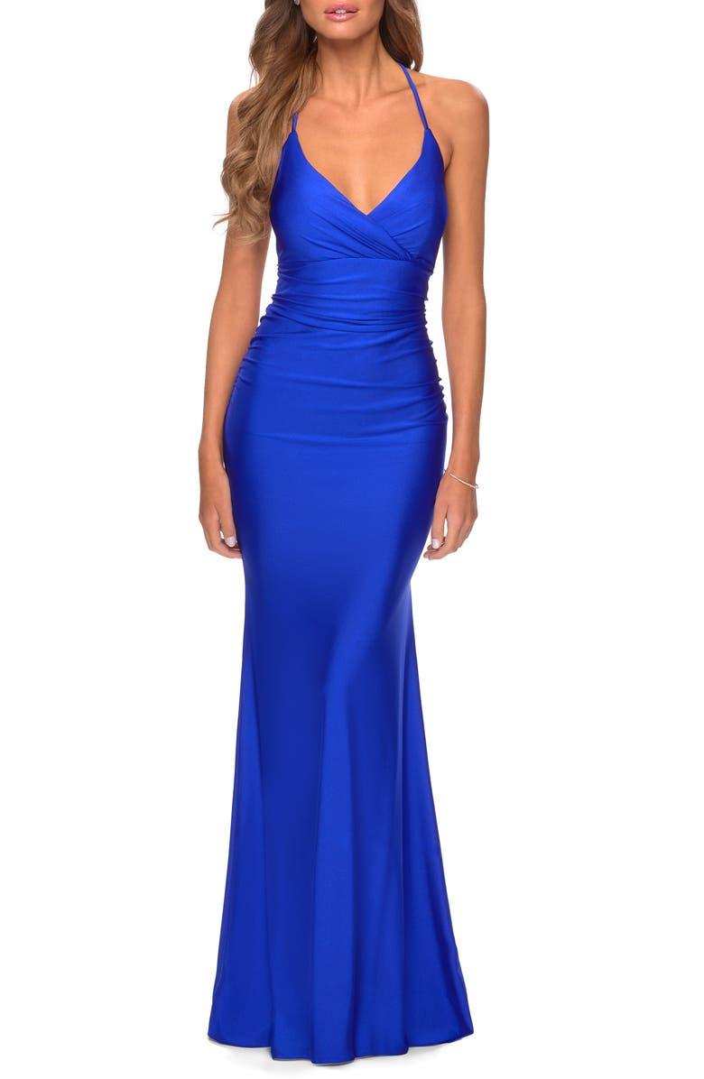 LA FEMME Strappy Back Trumpet Gown, Main, color, ROYAL BLUE