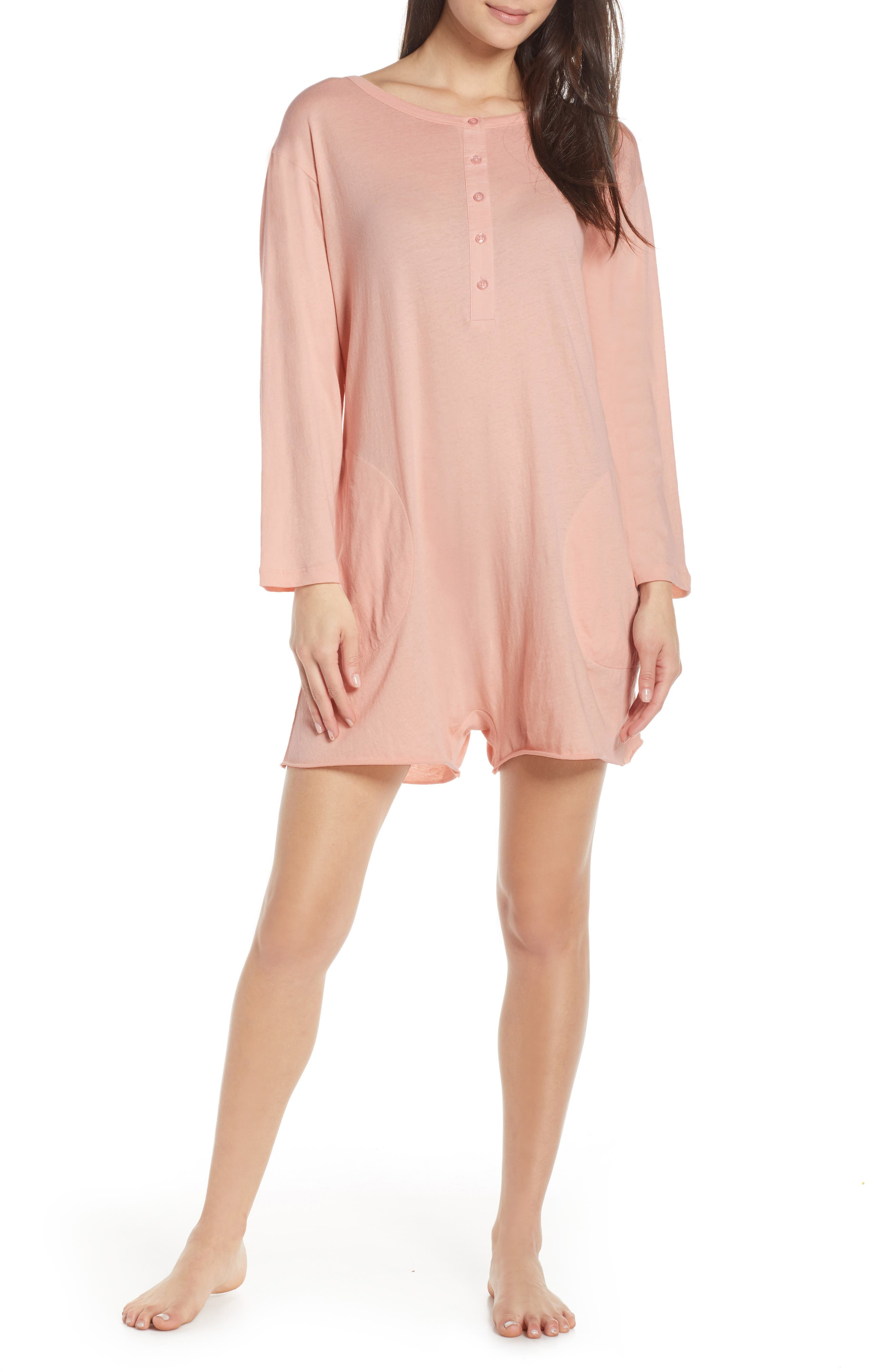 ,                             The Henley Pajama Romper,                             Main thumbnail 1, color,                             ROSE DUST
