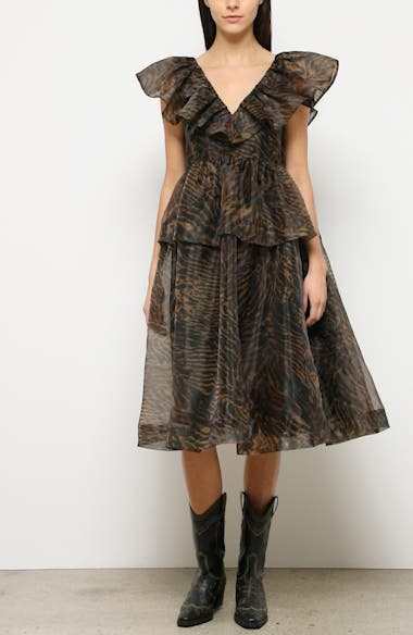 Tiger Print Organza Midi Dress, video thumbnail