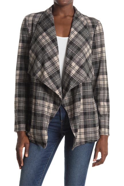 Image of BB Dakota Mel Plaid Drape Collar Jacket