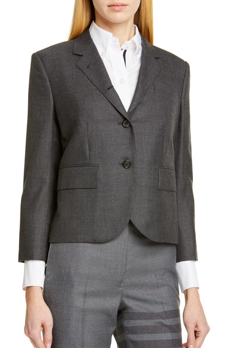 THOM BROWNE Shrunken Wool Blazer, Main, color, DARK GREY