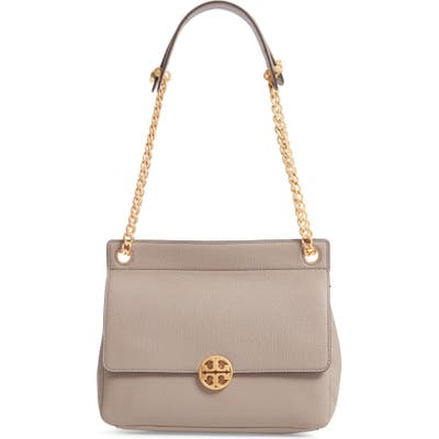 Tory Burch Chelsea Flap Leather Shoulder Bag - Grey