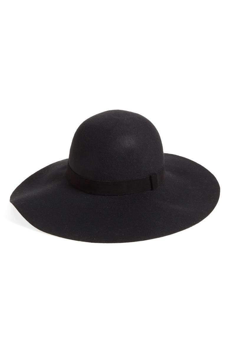CASLON<SUP>®</SUP> Suede Trim Floppy Wool Hat, Main, color, 001