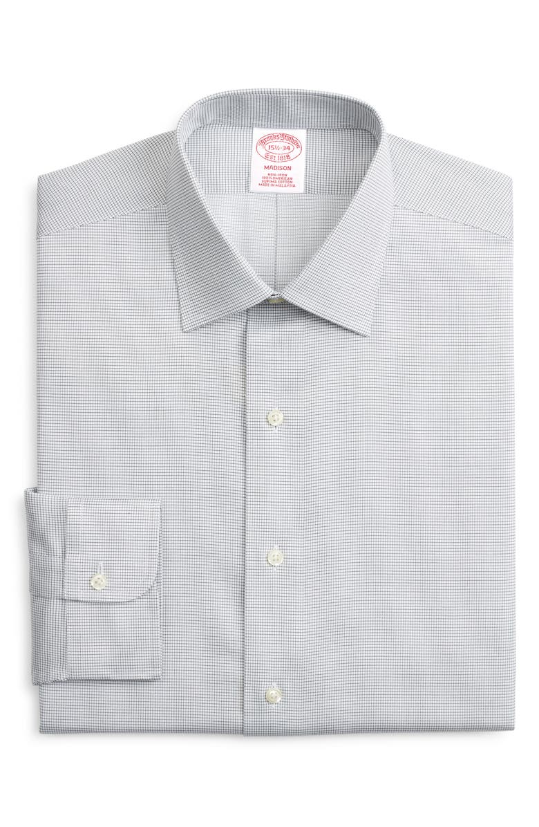 BROOKS BROTHERS Madison Classic Fit Non-Iron Check Dress Shirt, Main, color, GREEN