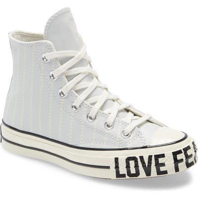 Converse Chuck Taylor All Star 70 Love Fearlessly High Top Leather Sneaker, Blue
