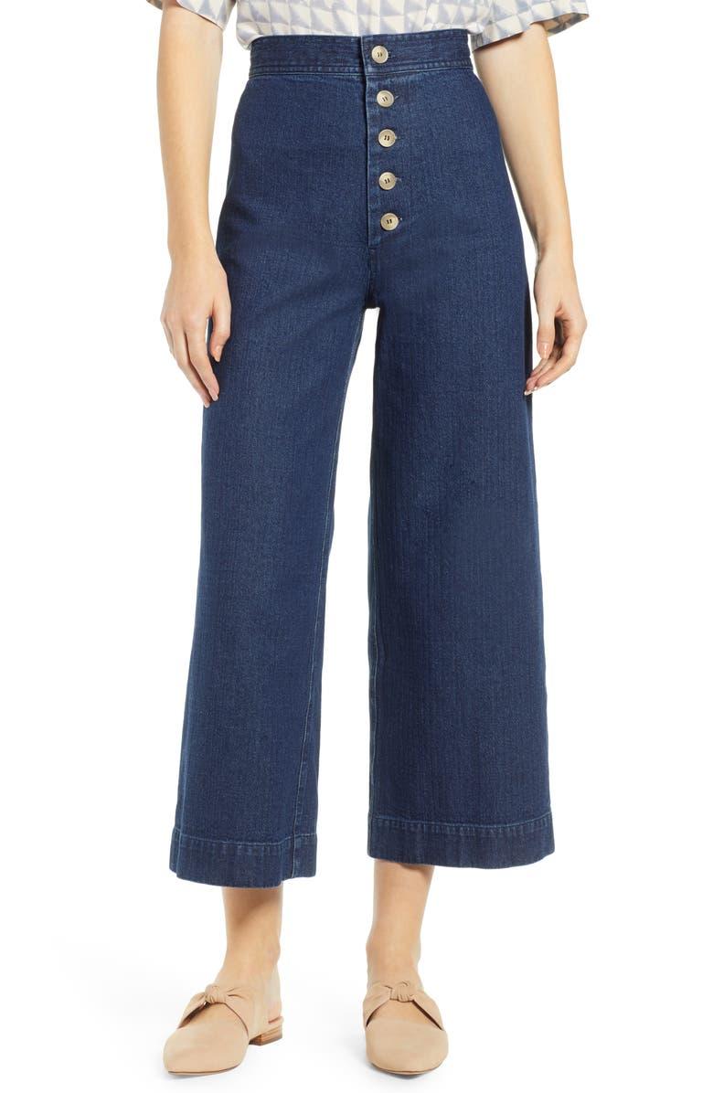 THE ODELLS Sailor High Waist Crop Wide Leg Jeans, Main, color, POMPEII