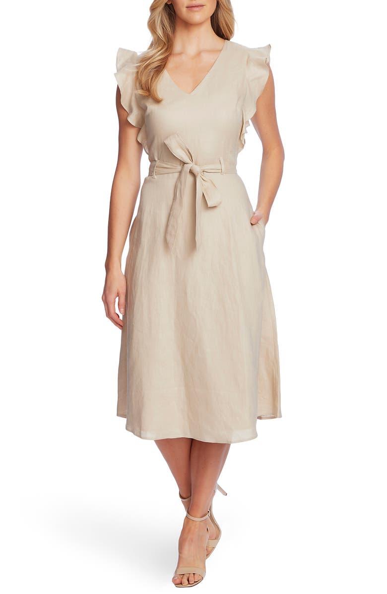 CECE Flutter Sleeve Belted Linen Midi Dress, Main, color, CRISP SAND