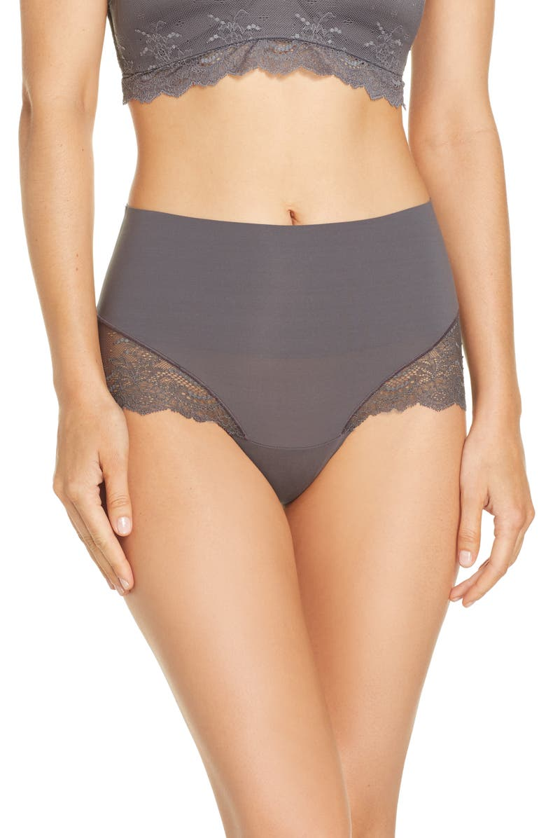 SPANX<SUP>®</SUP> Undie-tectable Lace Hipster Panties, Main, color, CHROME GREY