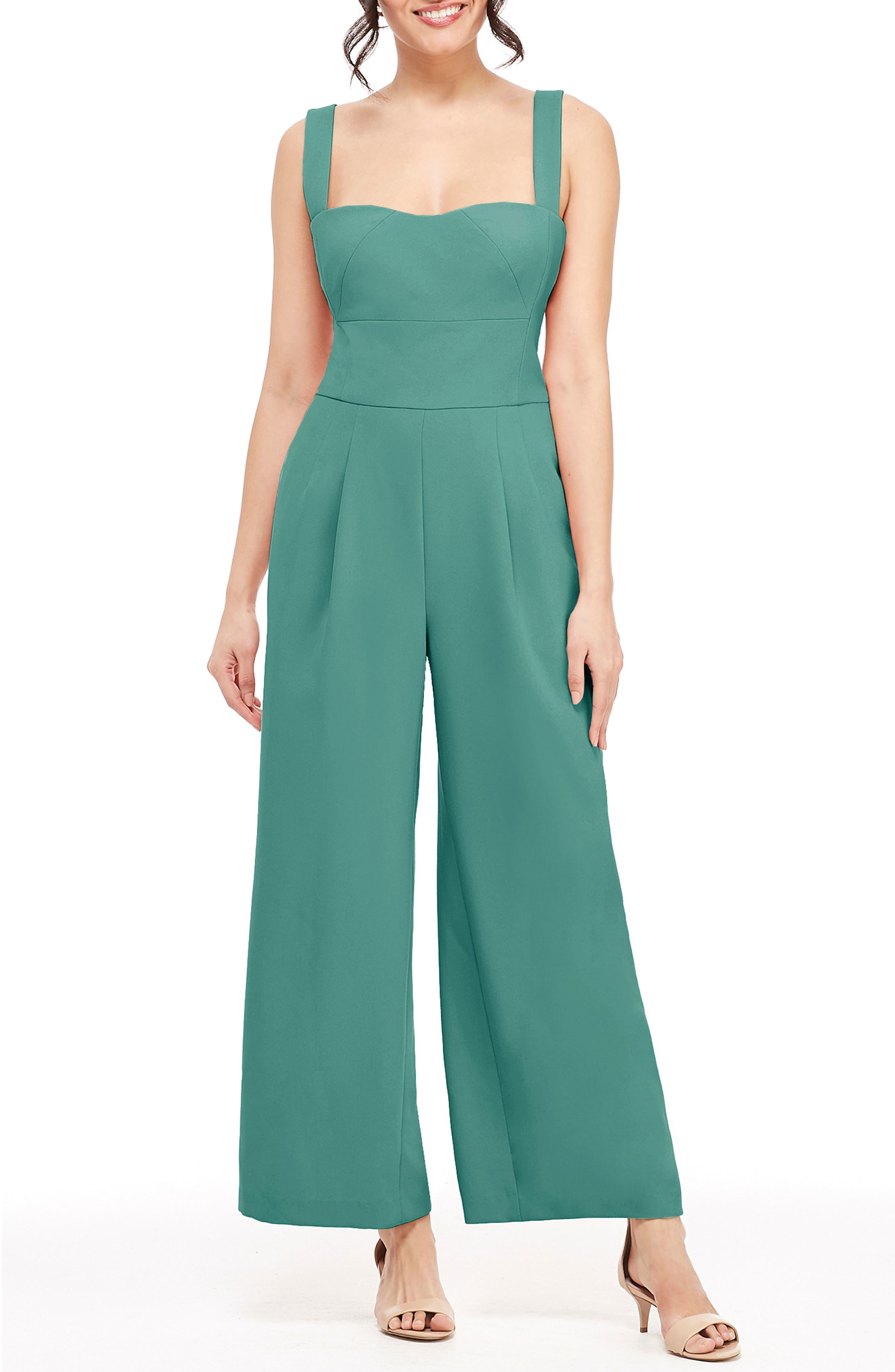 Nicole Square Neck Jumpsuit, Main, color, GREEN