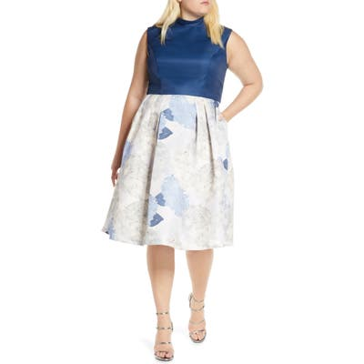 Plus Size Chi Chi London Curve Cyd Satin & Floral Print Cocktail Dress, Blue