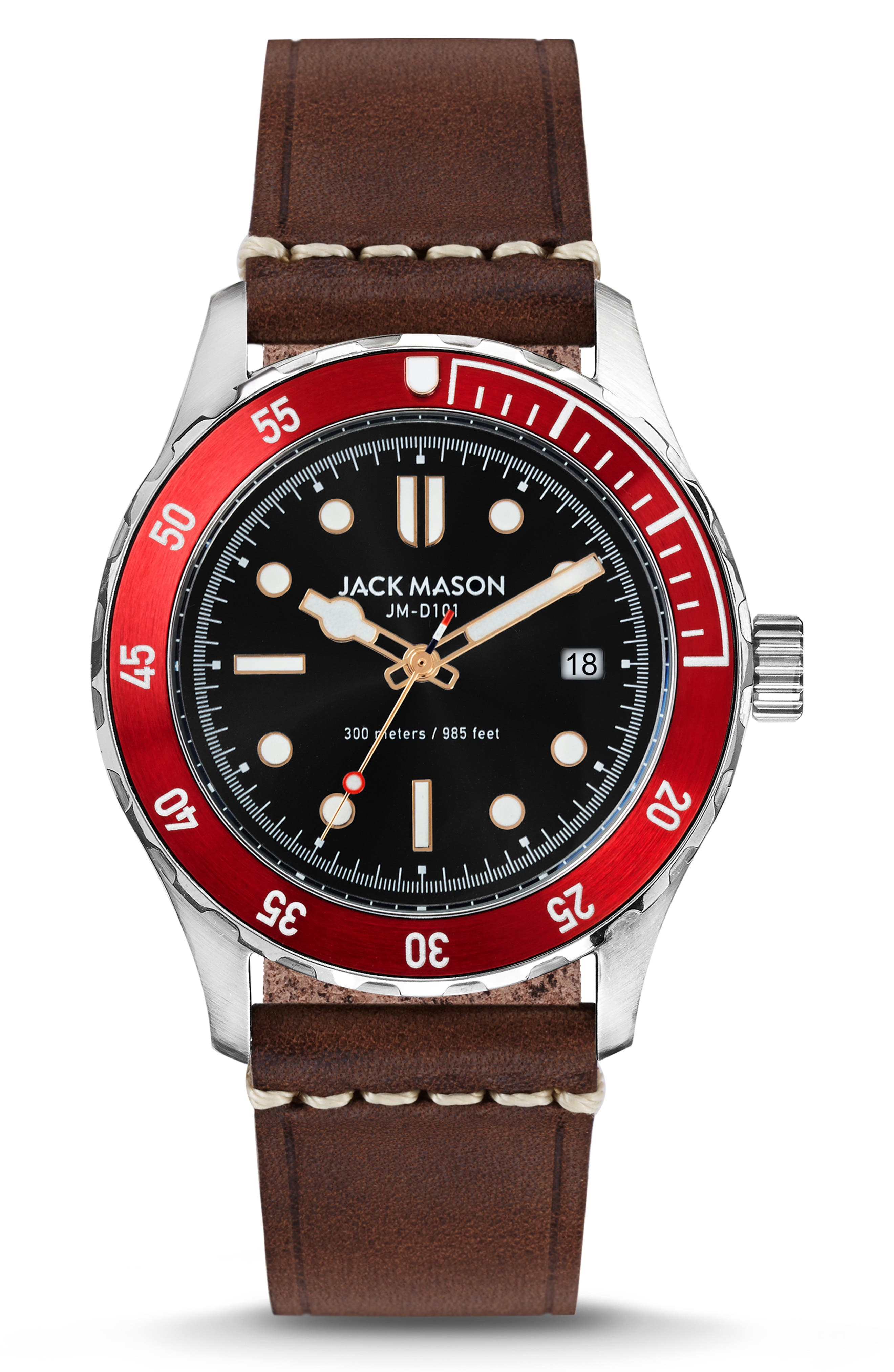 Diving Leather Strap Watch, 42mm, Main, color, BLACK