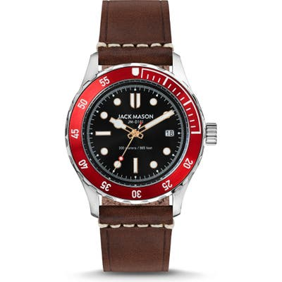 Jack Mason Diving Leather Strap Watch, 42Mm