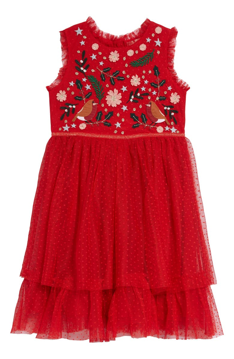 MINI BODEN Festive Tulle Party Dress, Main, color, ROCKABILLY RED ROBINS