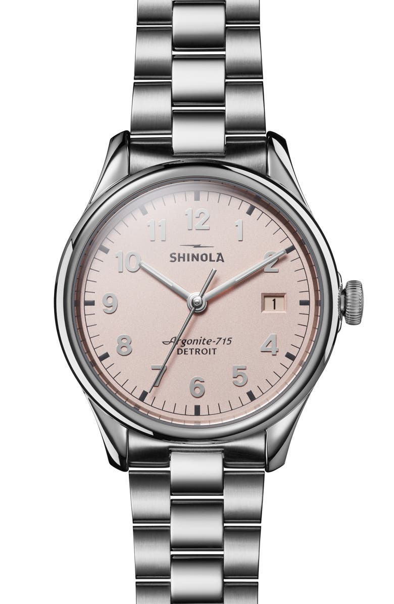 SHINOLA The Vinton Bracelet Watch, 38mm, Main, color, SILVER/ PINK/ SILVER
