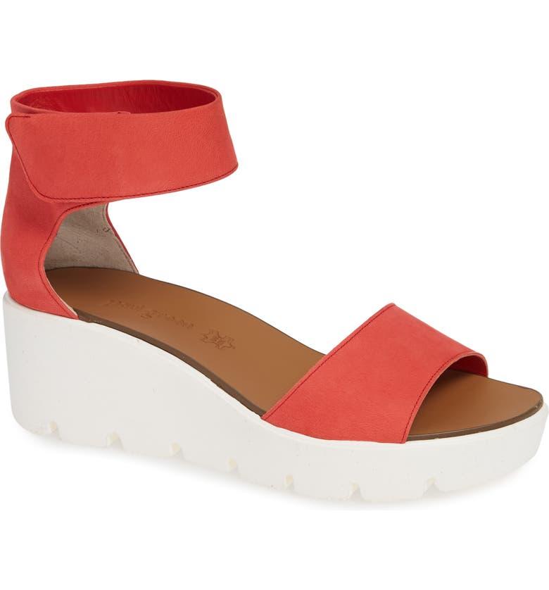 PAUL GREEN Victoria Wedge Platform Sandal, Main, color, RED SOFT NUBUCK