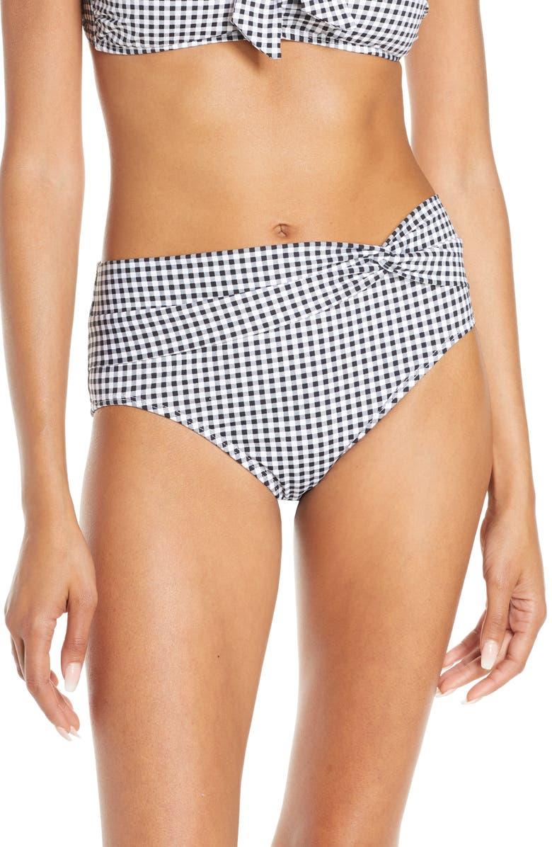 TOMMY BAHAMA Twist High Waist Bikini Bottoms, Main, color, BLACK/ WHITE