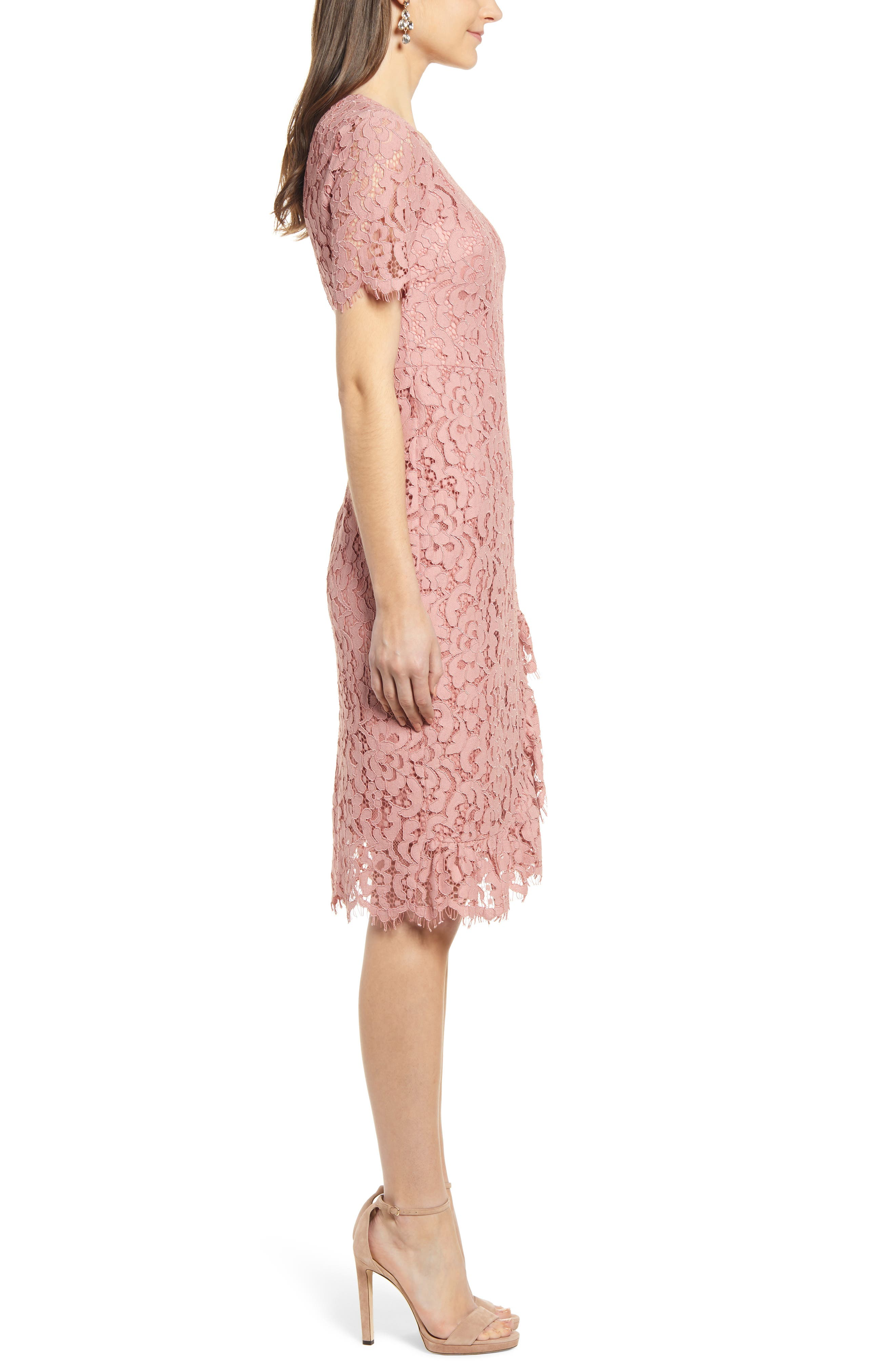,                             Ruffle Front Lace Sheath Dress,                             Alternate thumbnail 4, color,                             PINK BEAUTY