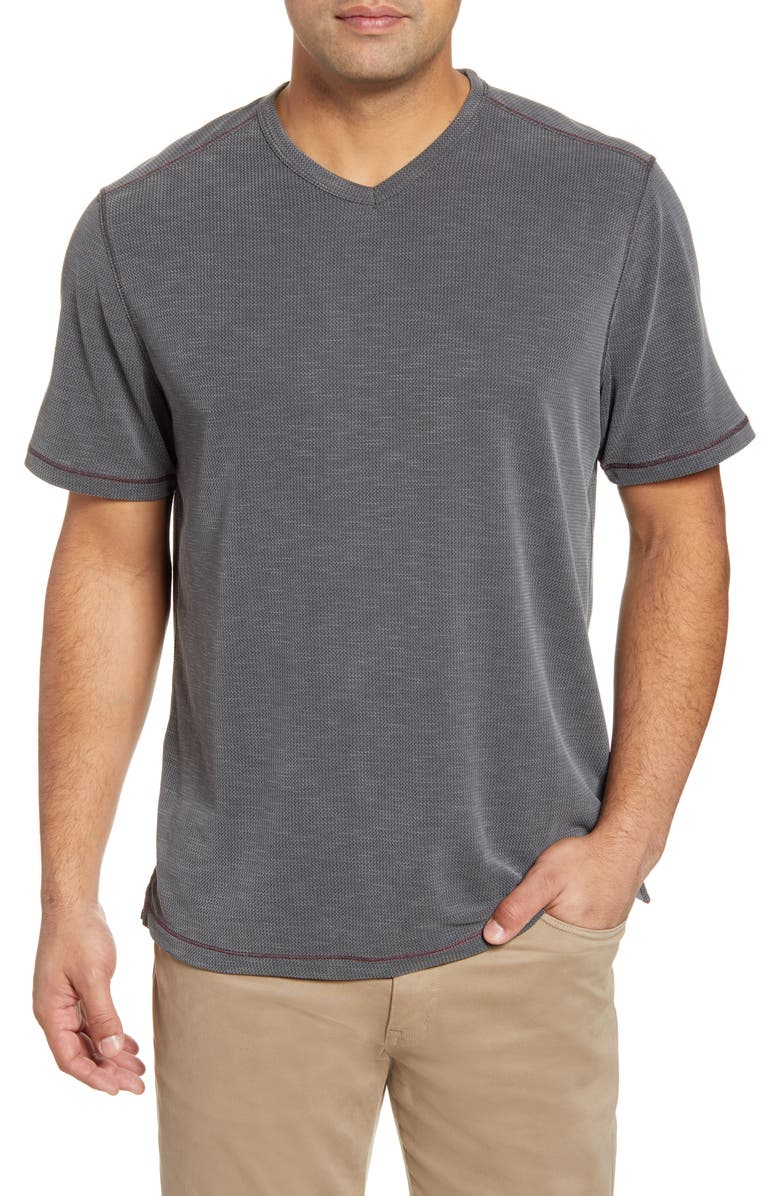 TOMMY BAHAMA Tropicool Paradise V-Neck T-Shirt, Main, color, COAL