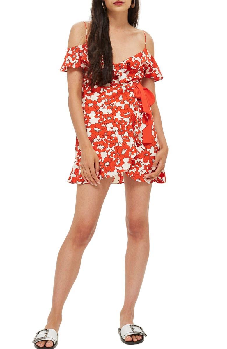 TOPSHOP Poppy Ruffle Wrap Minidress, Main, color, 600