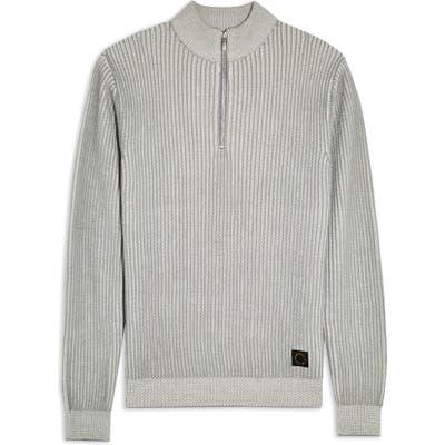 Topman Half Zip Plaited Mock Neck Sweater, Grey